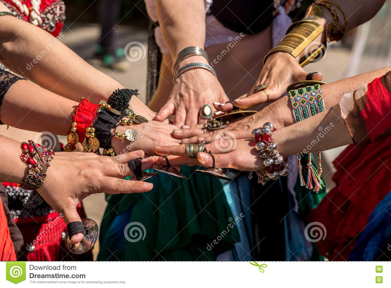 Many hands together showing unity