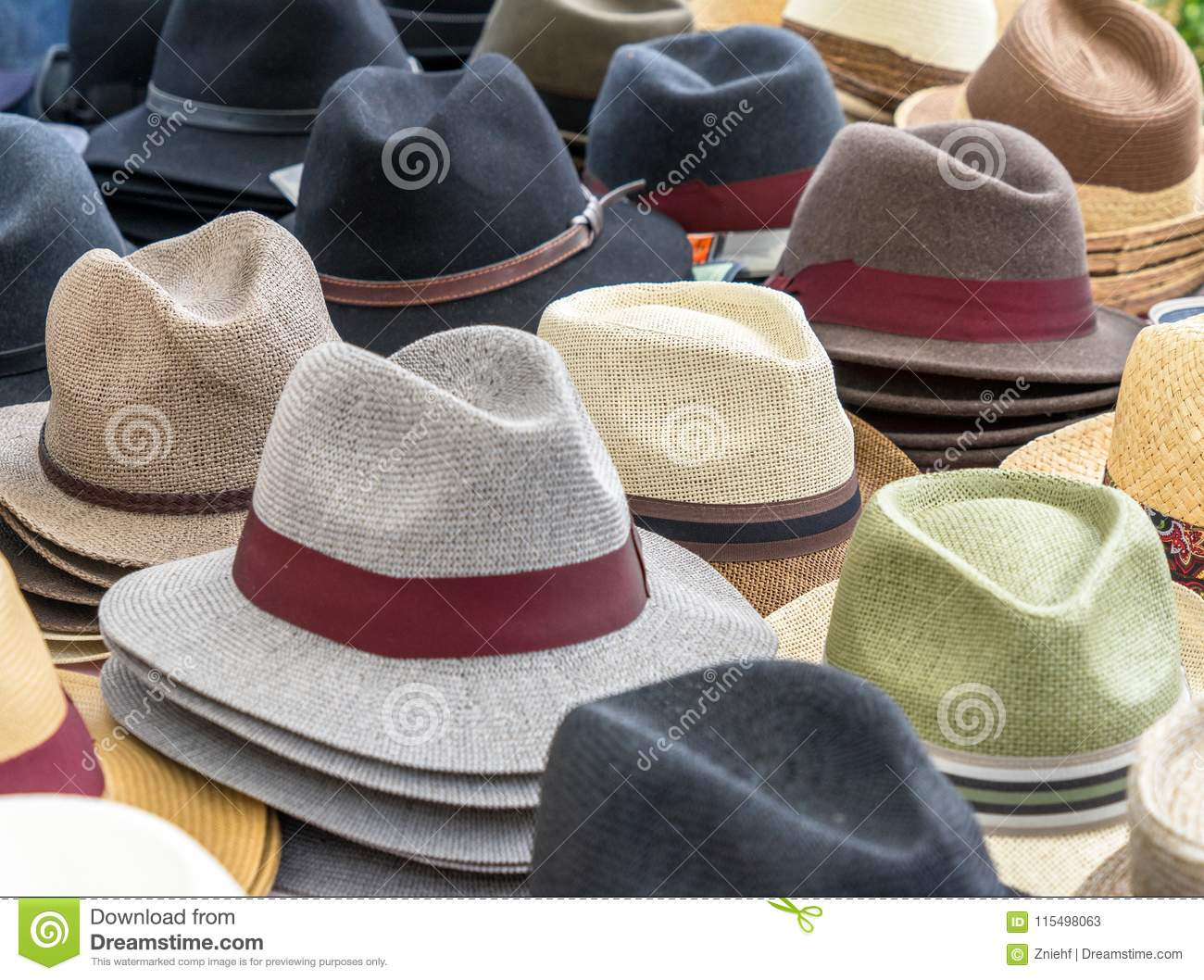 42594e00199cc Many hats for men in different shapes and colors in one display for sale