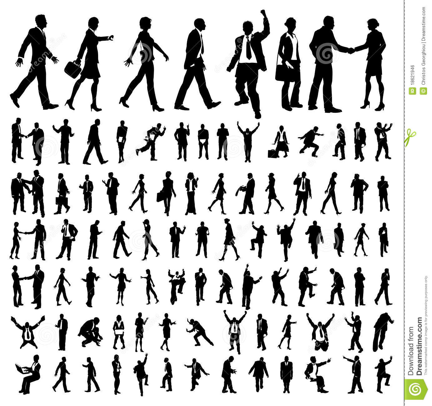 Many High Quality Business People Silhouettes Royalty Free