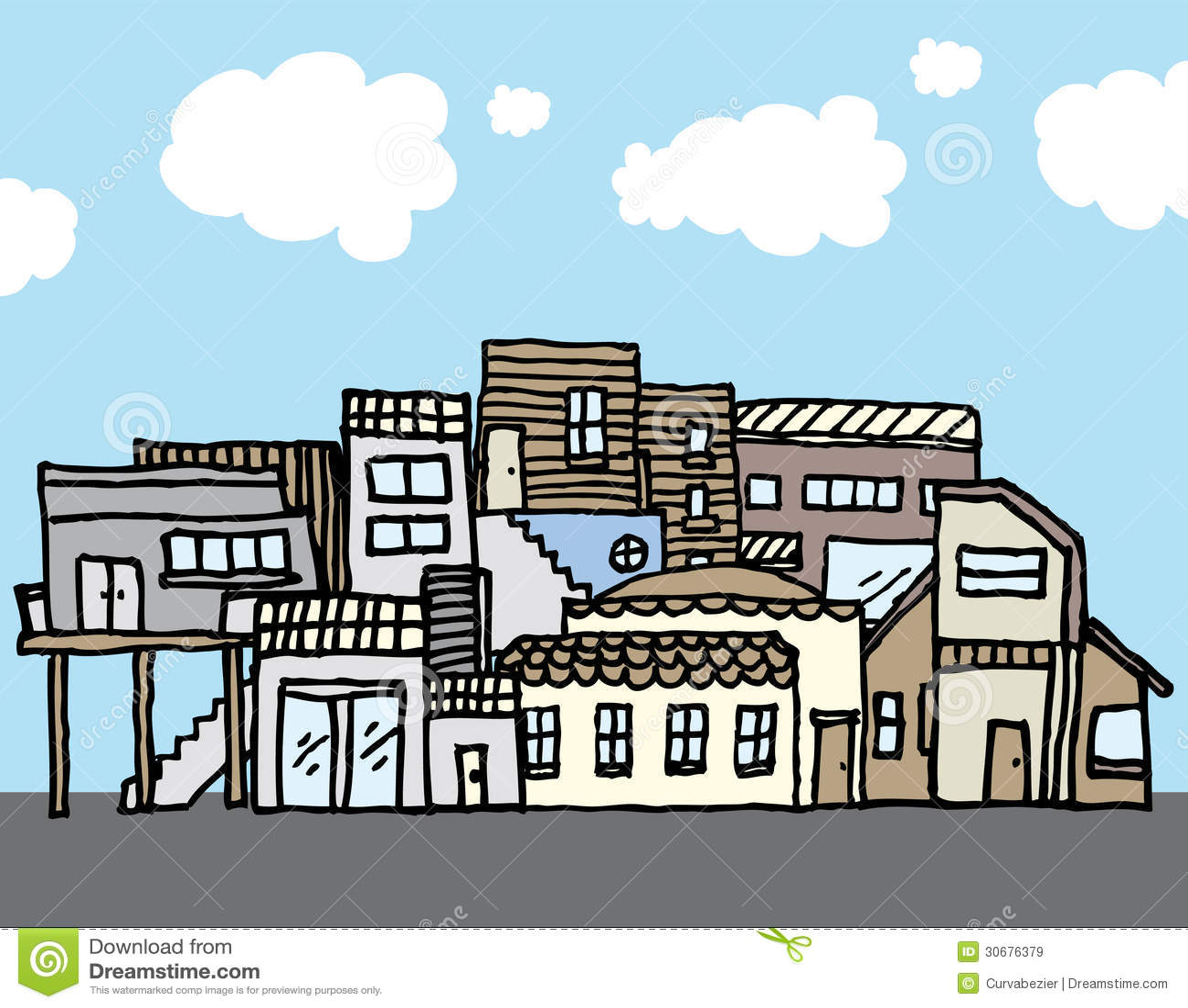 Many Houses / Tight Community Stock Illustration