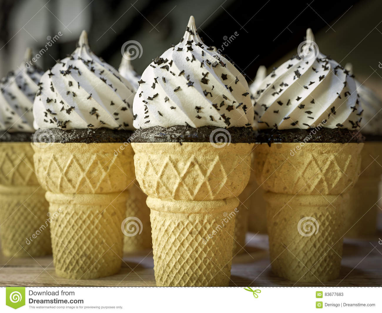 Many ice cream cones on the wooden vintage table