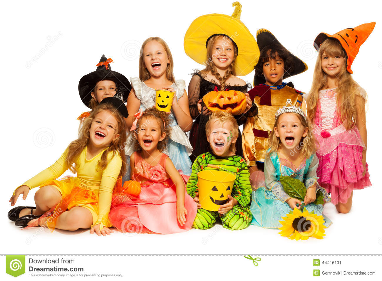 many kids sit in group wearing halloween costumes - Children Halloween Pictures