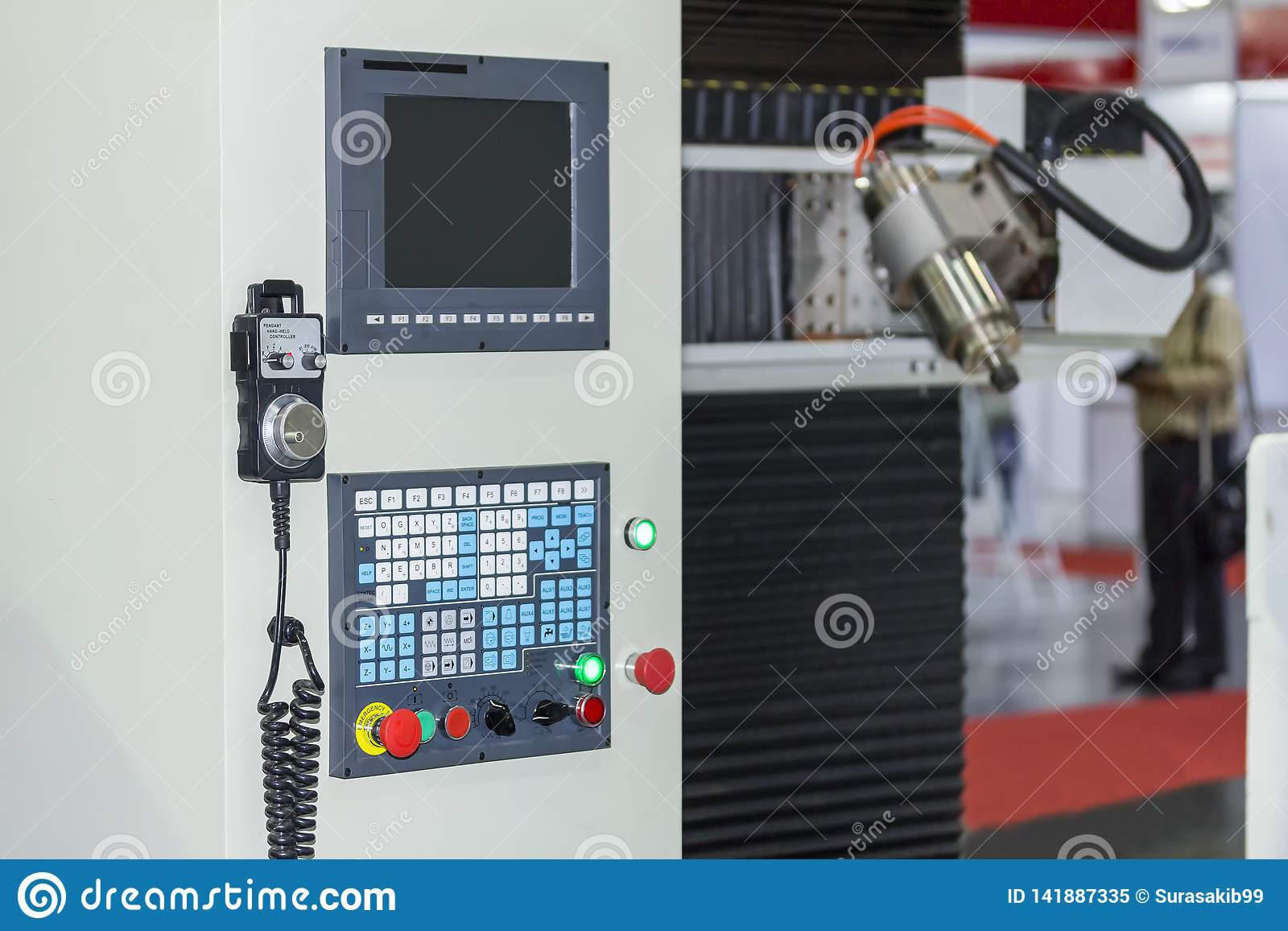 Many kind switch button and turns dial with monitor of control panel for adjust parameter cnc lathe machine or machining center