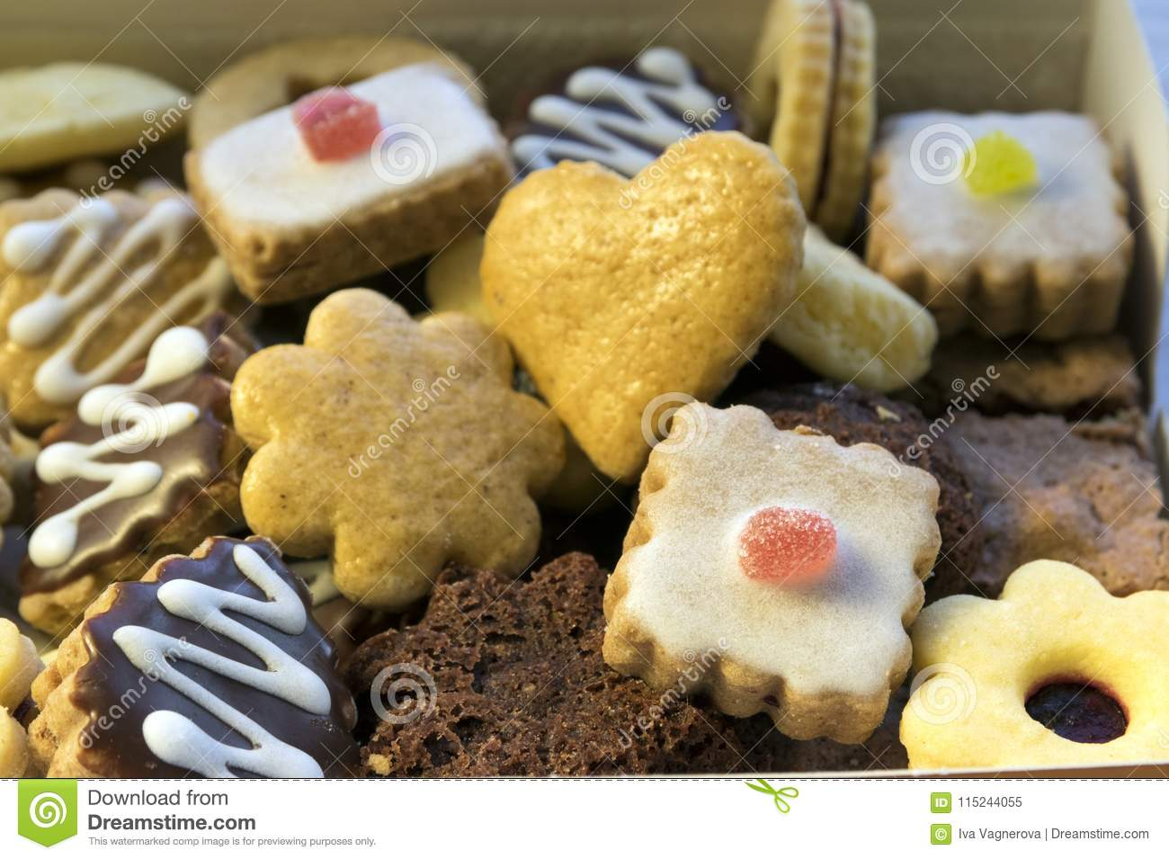 Many Kinds Of Christmas Cookies In One Pile In The Box Stock Image