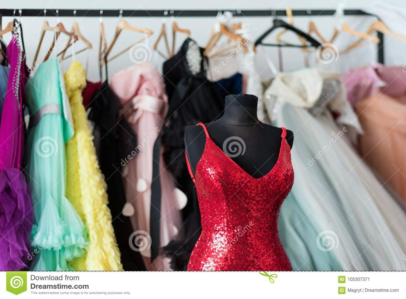 Many Ladies Evening Gown Long Dresses On Hanger In The Dress Rent ...