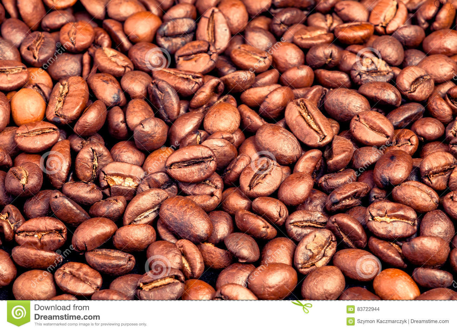 Many Macro Coffe Beans Closeup On Coffee Background. Stock Photo