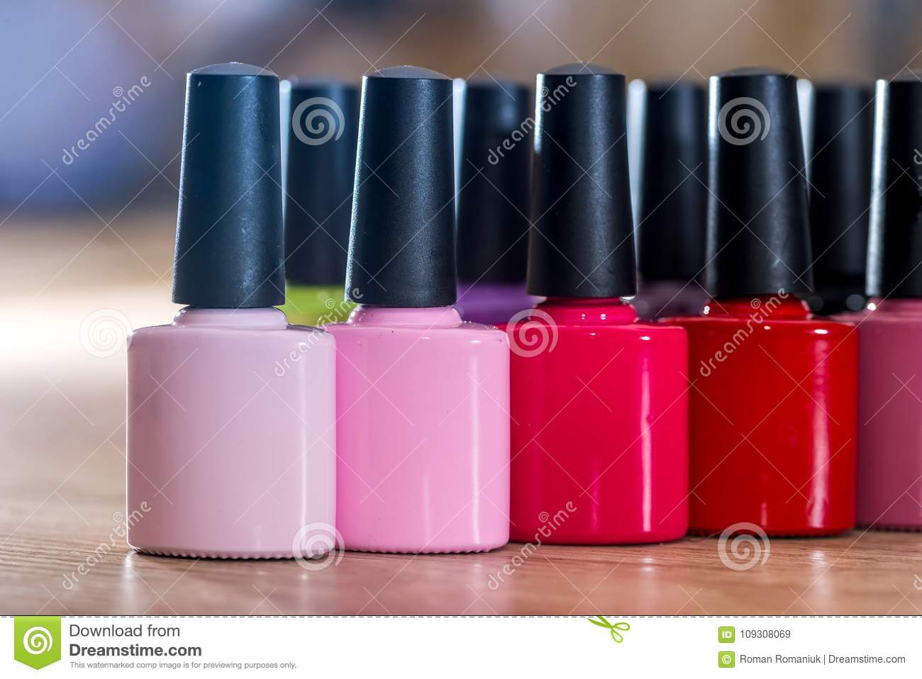 Many Nail polish colorful