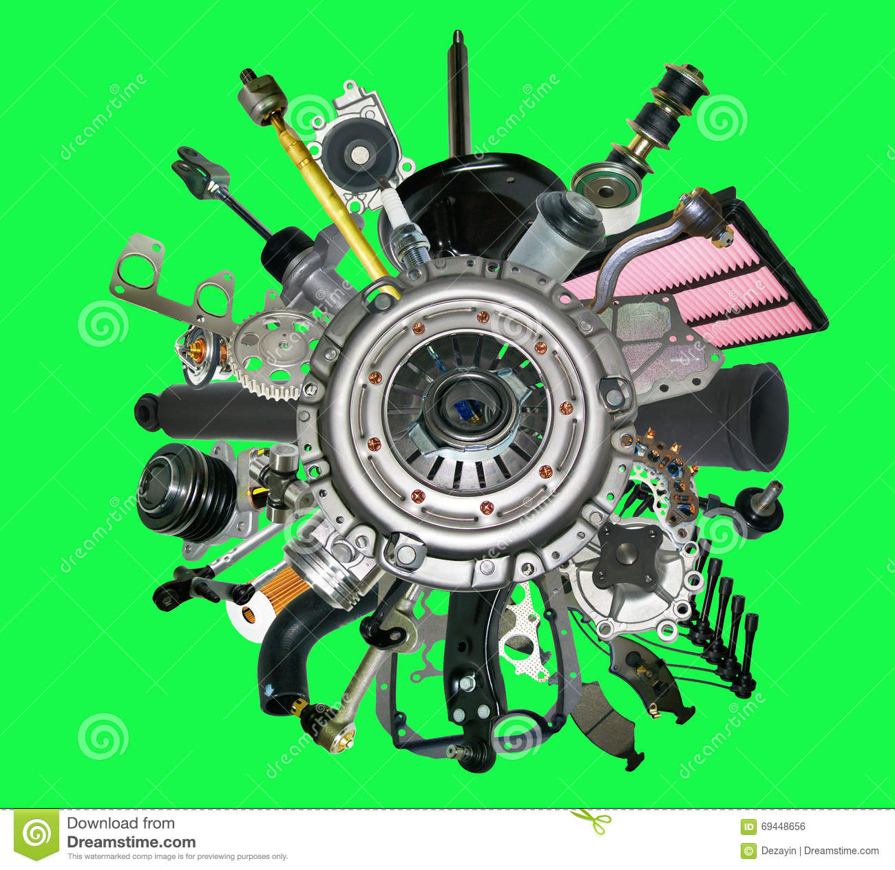 New Car Parts : Many new spare parts for a car isolated on green