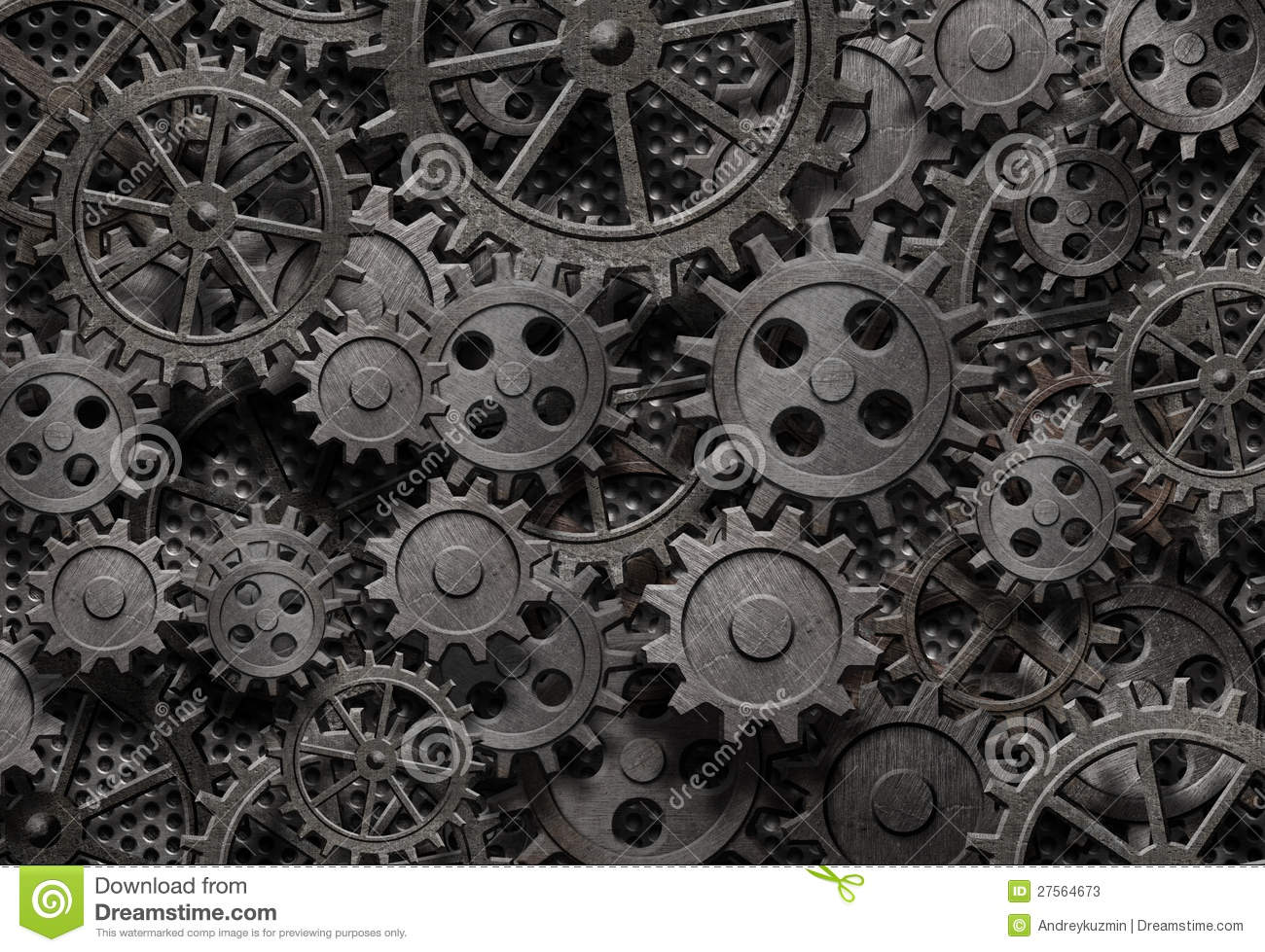 Many Old Rusty Metal Gears Background Stock Photos Image