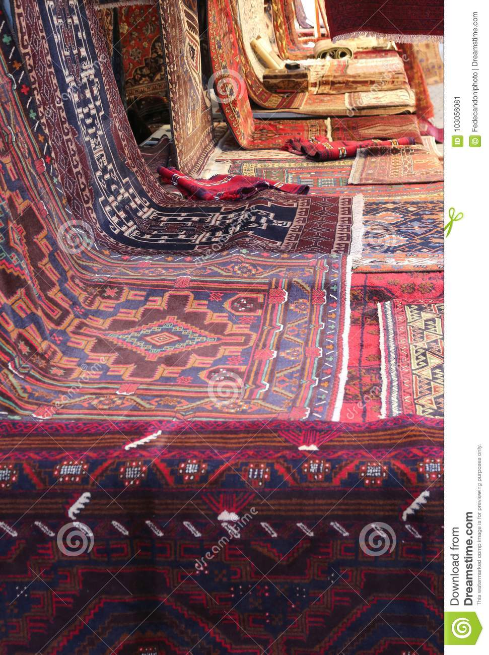 Oriental Carpets With Different Colors And Geometric Designs