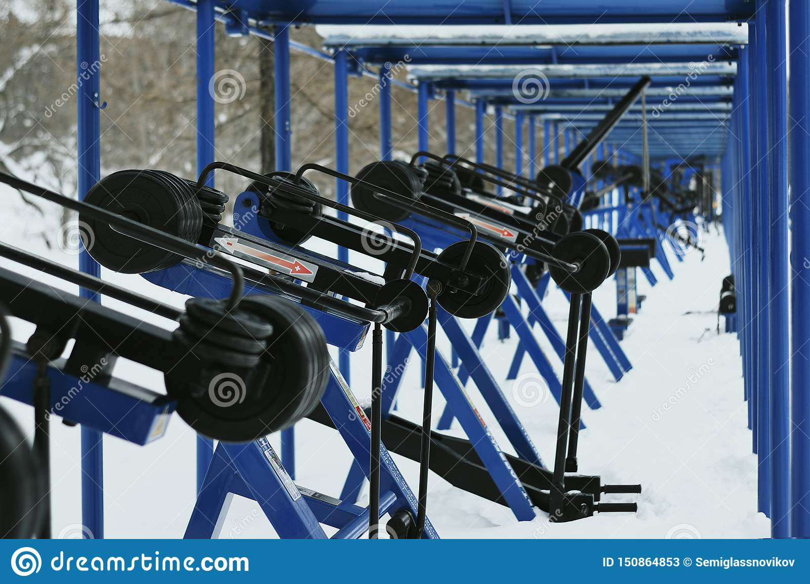 Many outdoors fitness equipments