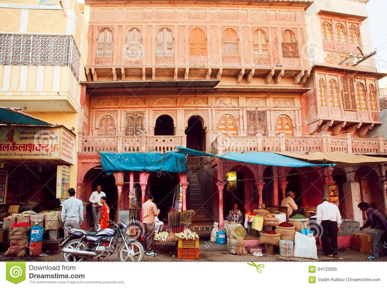 Street shops with food editorial photo for City indian dining ltd t a spice trader
