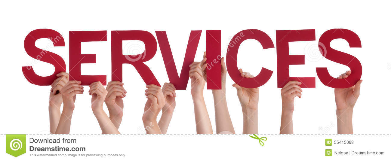 Many People Hands Hold Red Straight Word Services Stock