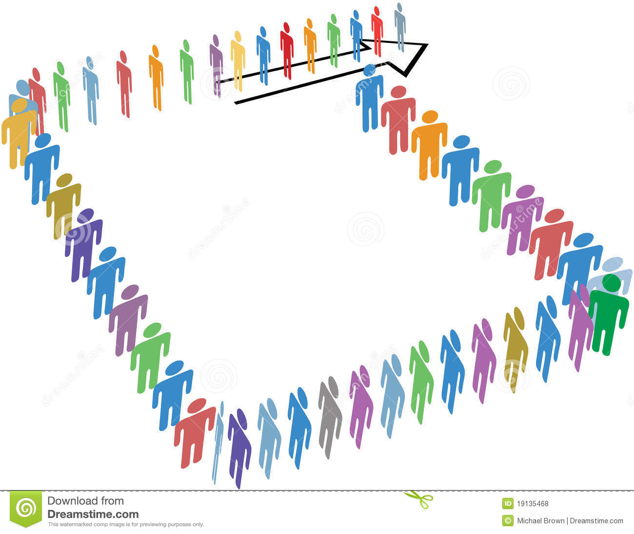 Royalty Free Stock Photos: Many people long line around copy space ... Happy Child Clipart