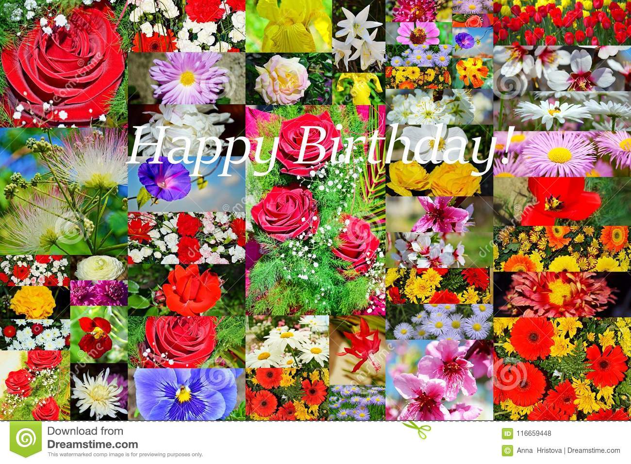 Happy Birthday Flowers Collage Postcard Stock Illustration