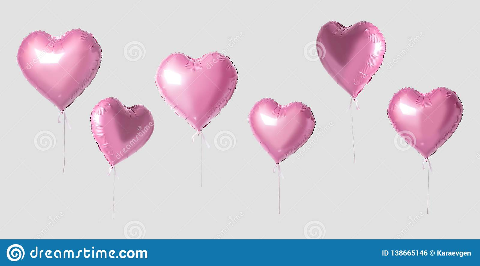 Many pink heart balloons on bright background. Minimal love concept
