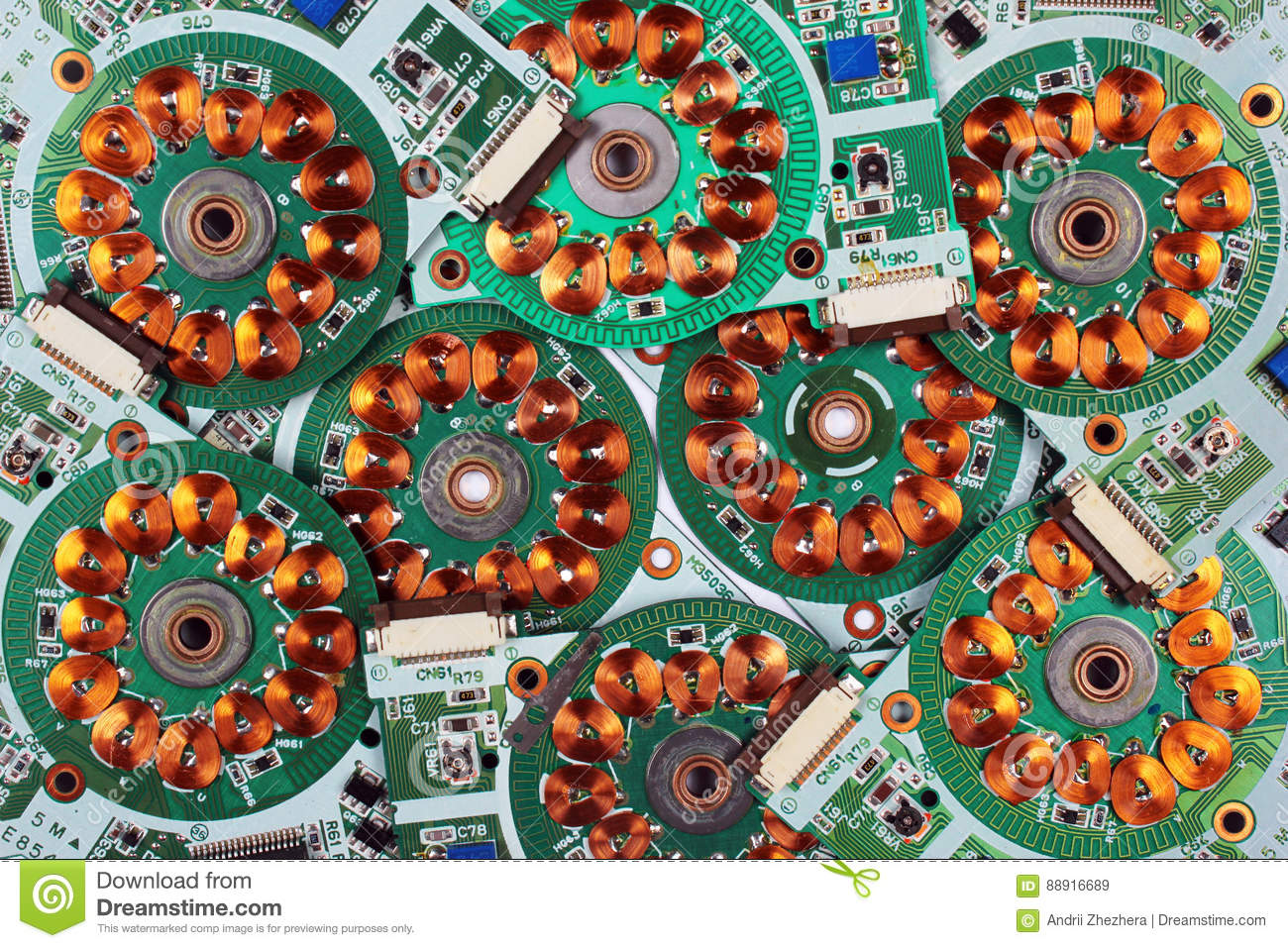 Many Printed Circuit Boards From Old Floppy Drives With Windings And Electronic Board Royalty Free Stock Image Photo Coils