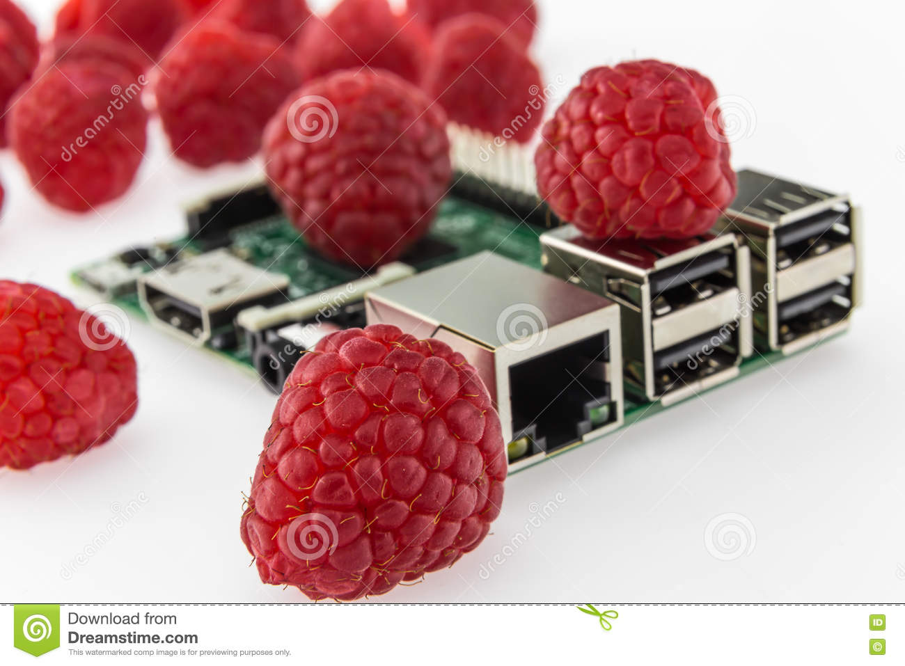 Many Raspberries And Circuit Board With Rj45 Hdmi Usb Conne Connector Connectors
