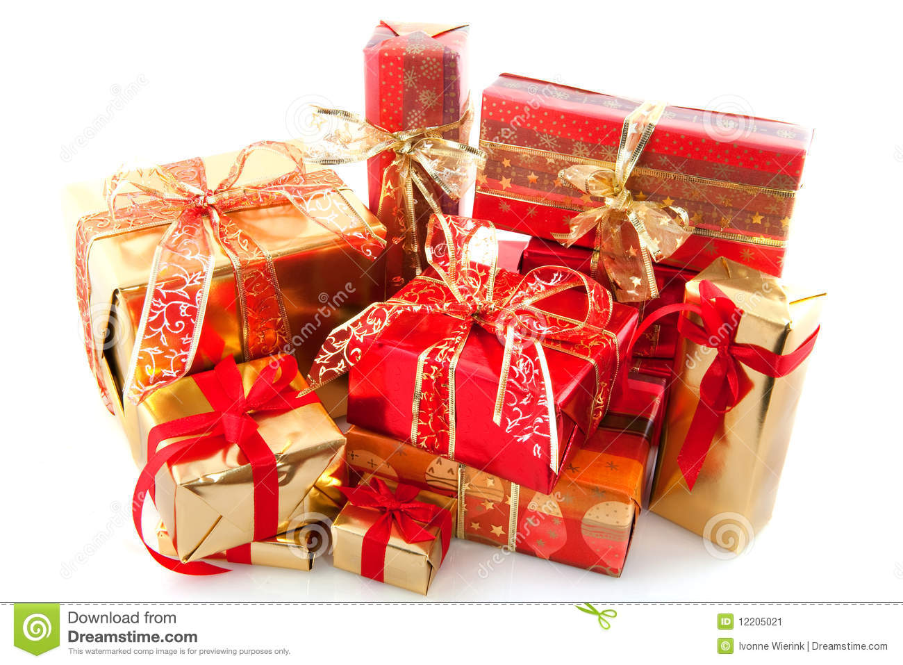 Many Red And Gold Christmas Presents Stock Image Image