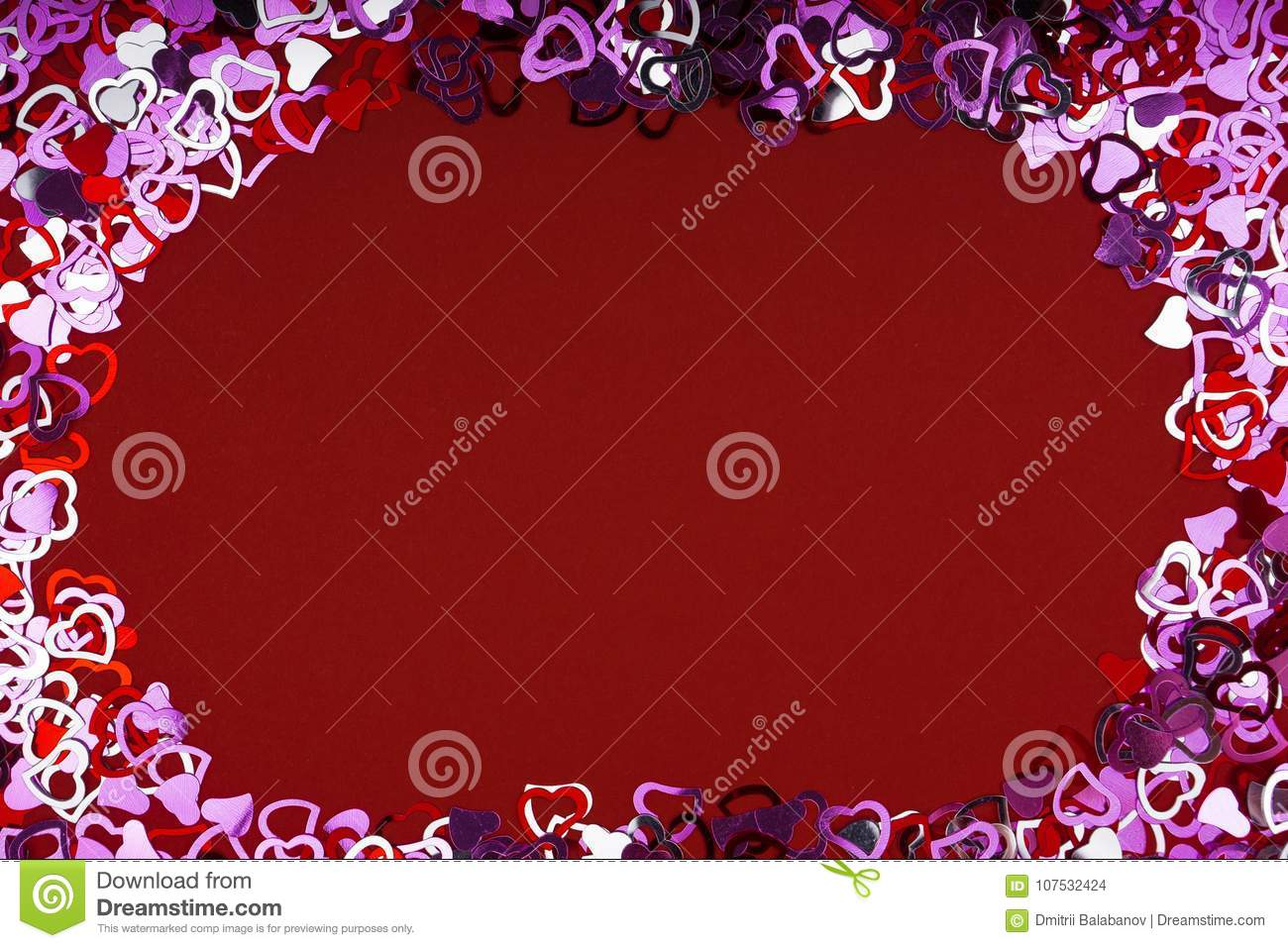 Many Red Heart Shape On Red Background , Frame And Space For Text