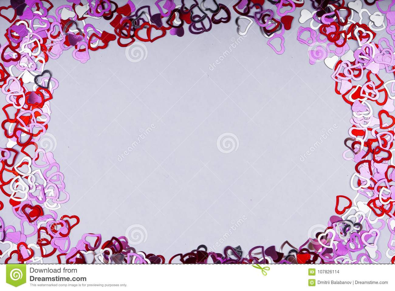 Many Red Heart Shape On White Background , Frame And Space For Text ...