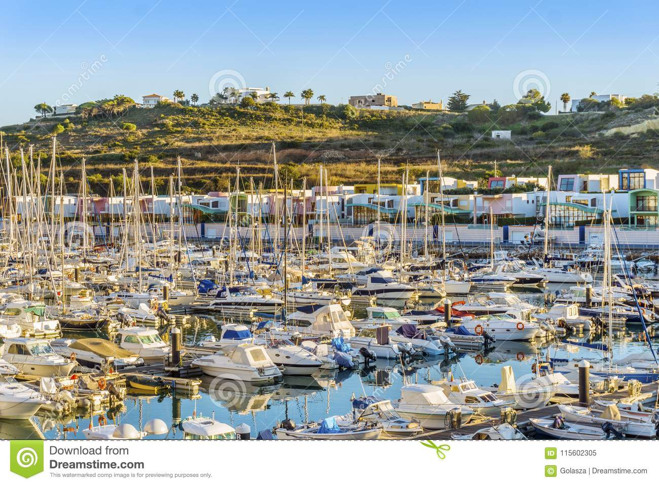 Many sailboats and motorboats in colorful marina, Albufeira, Algarve, Portugal