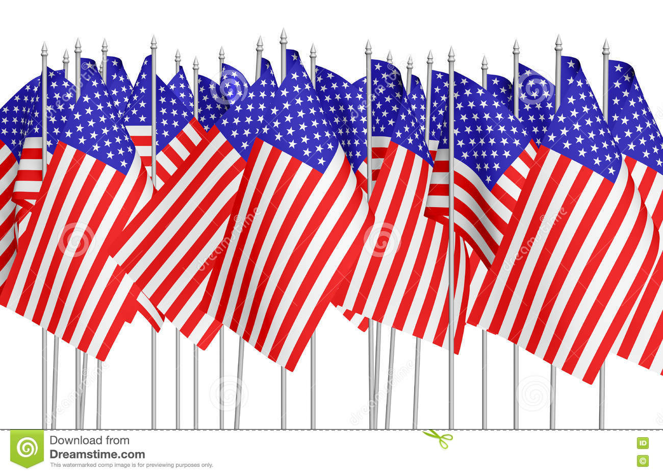 Many small american flags in row isolated on white