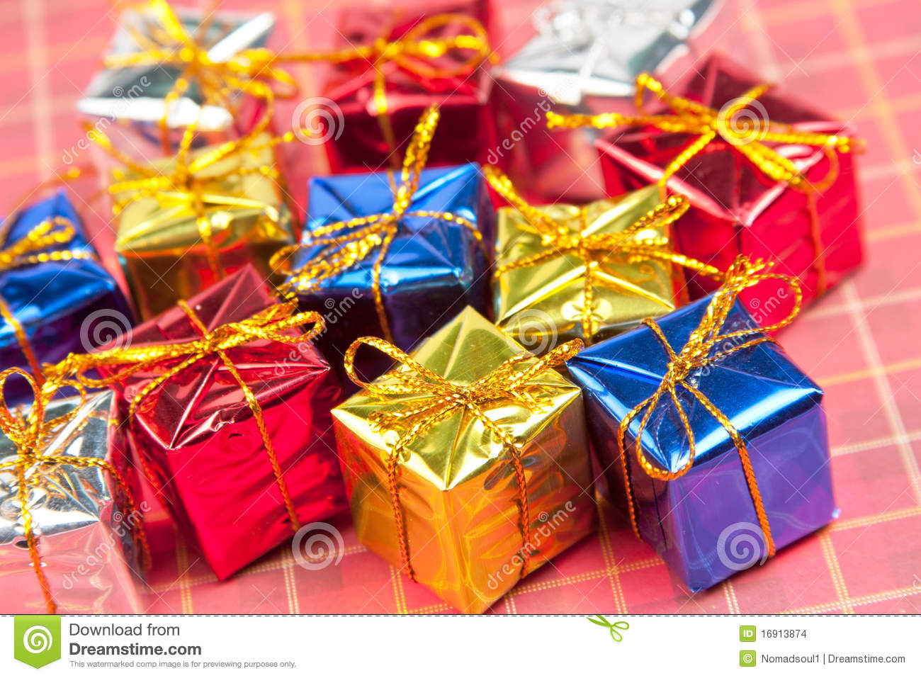 Many small christmas gifts stock photo. Image of rolled - 16913874