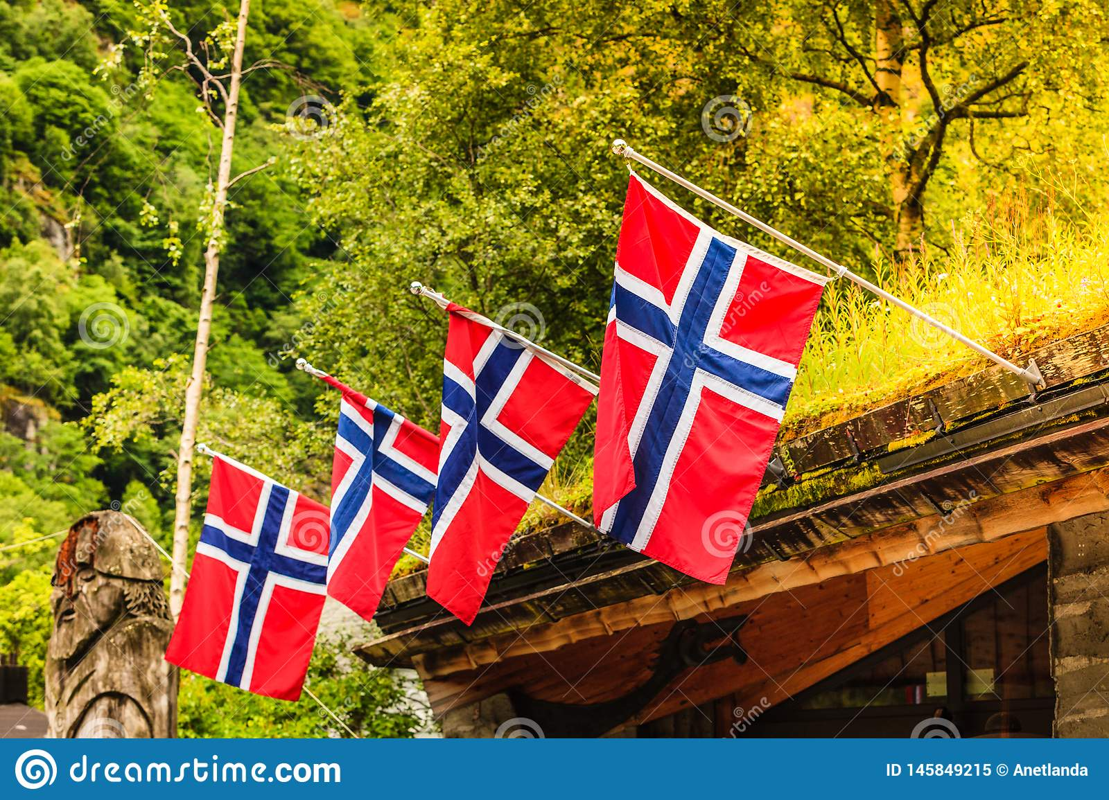 Many small Norway flags in row outdoor
