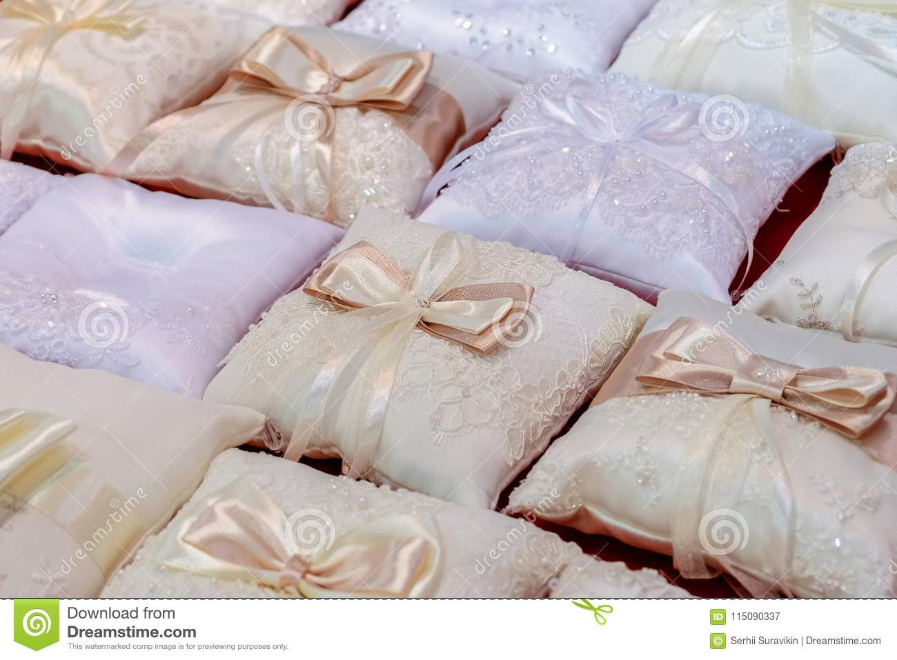 Cuscini Piccoli.Small Pillows For The Wedding Rings Stock Image Image Of Glamour