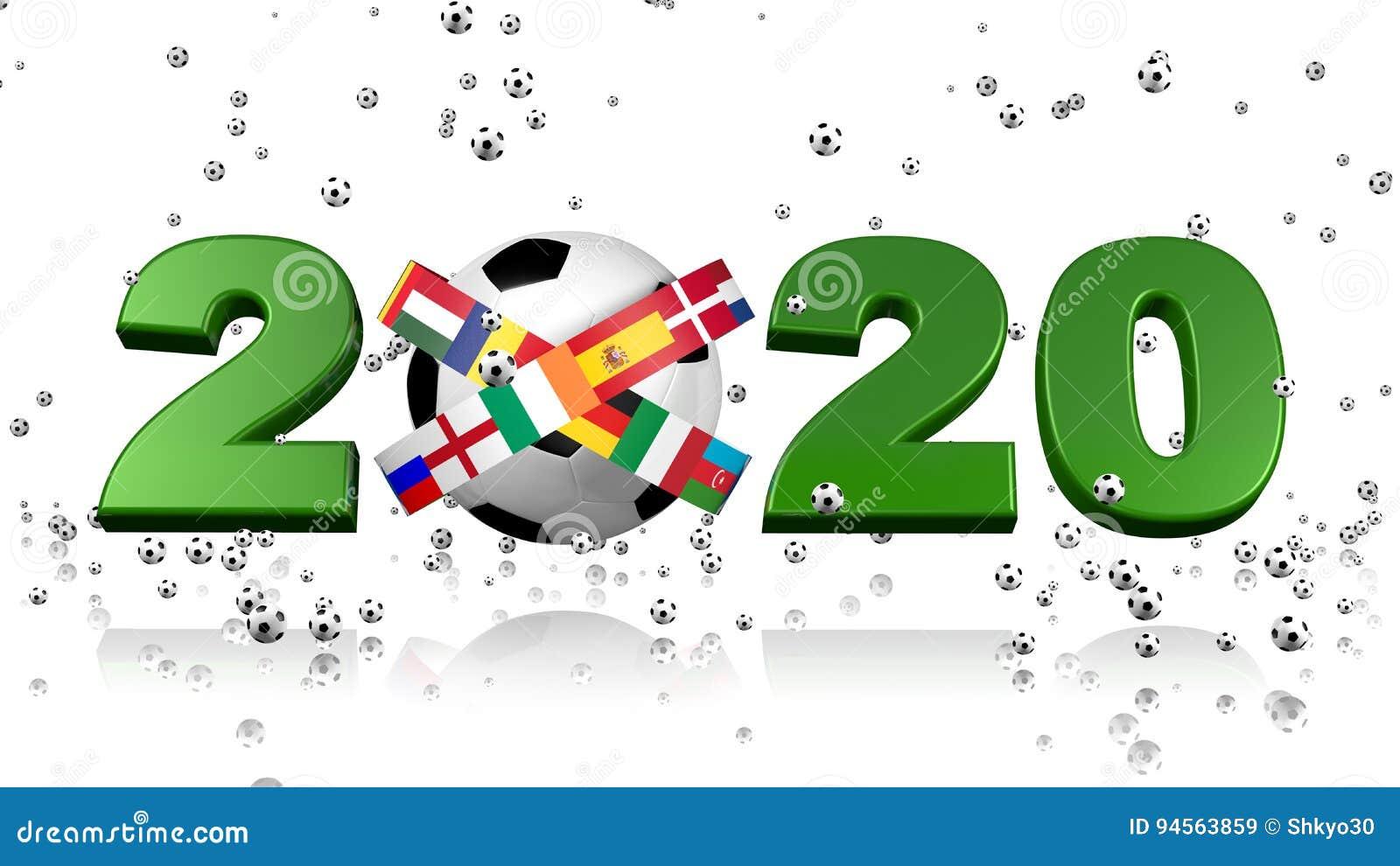 Many Tiny Footballs Raining On A 2020 Design And European Flags