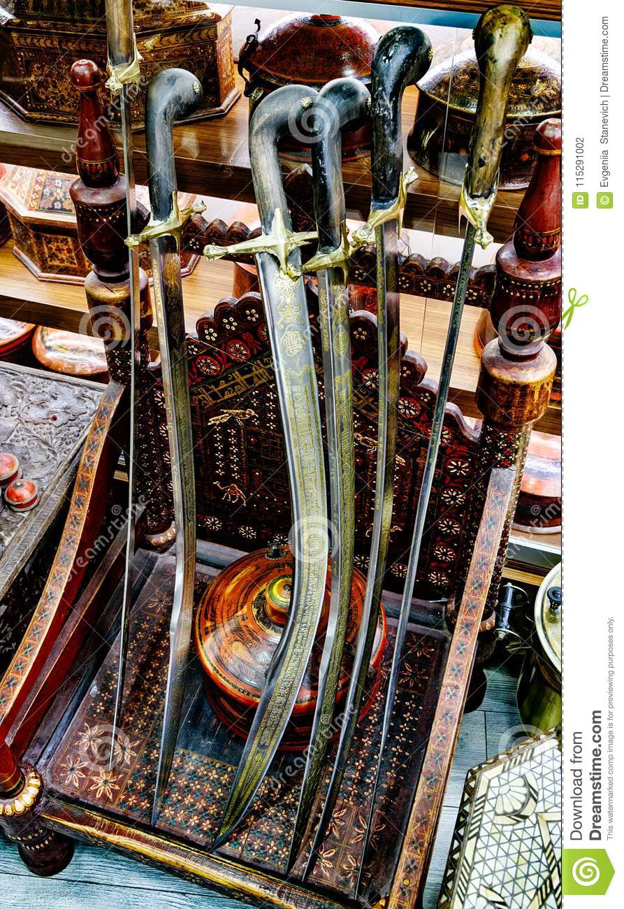 Turkish old swords stock photo  Image of oriental, traditional