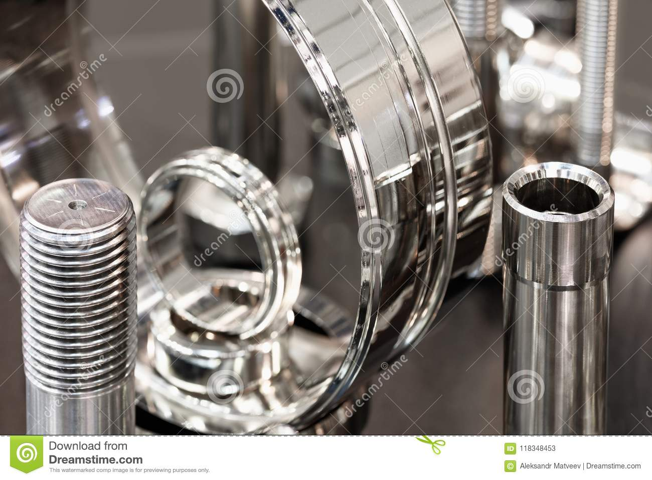 Many types of metal details industrial design background, industrial engineering concept.