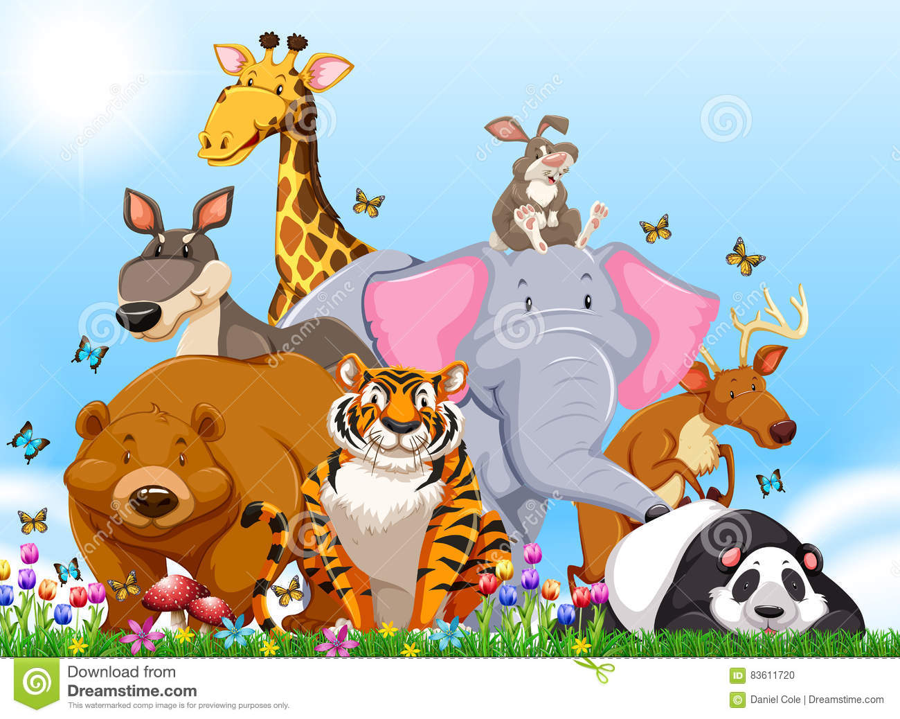 many types of wild animals in the field stock vector image 83611720