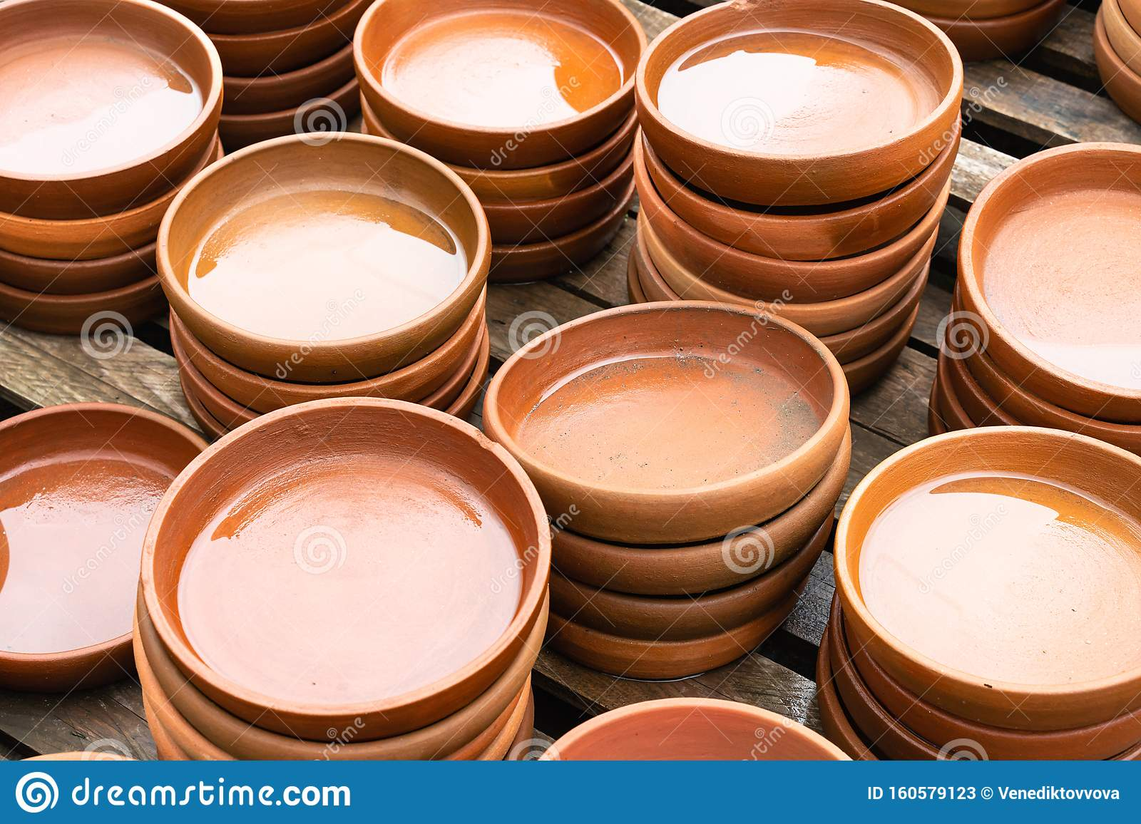 Many Utensils Are Made Of Clay Pottery And Handmade Close Up Stock Image Image Of Brown Souvenir 160579123