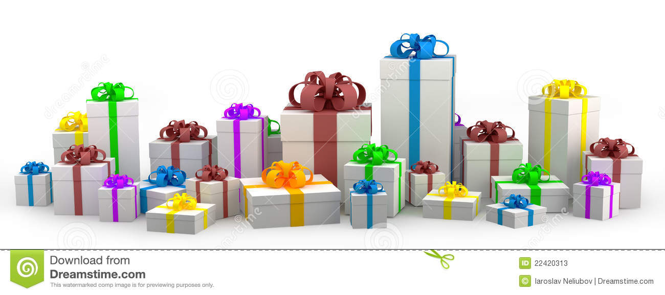 Many color gift boxes isolated on white background stock many white gift boxes with color ribbon stock photos negle Choice Image
