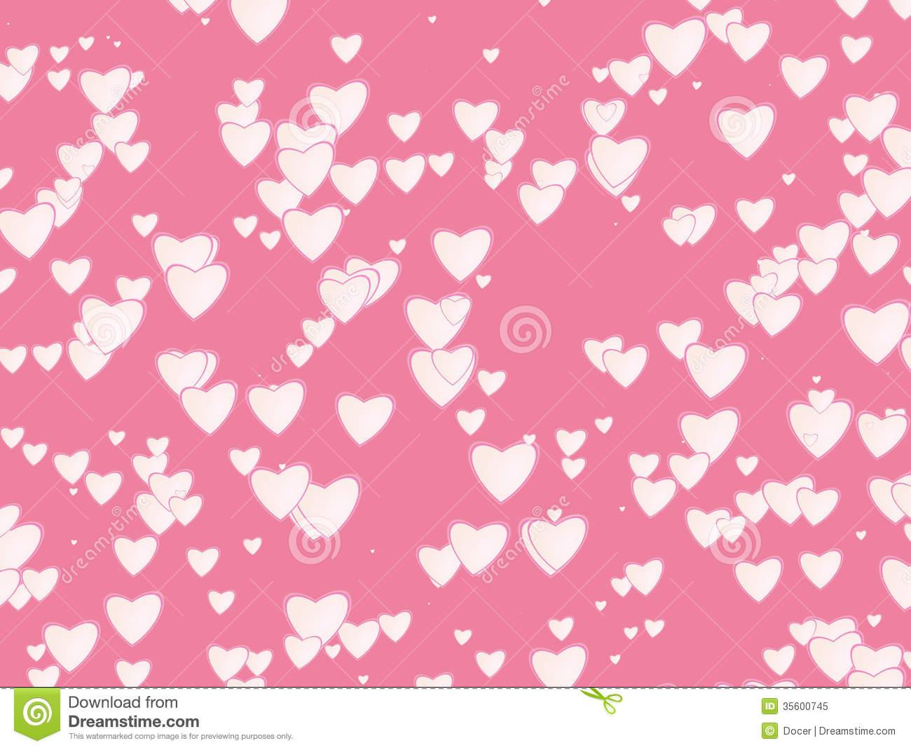 Many White Hearts Background Of Valentine's Day. Love