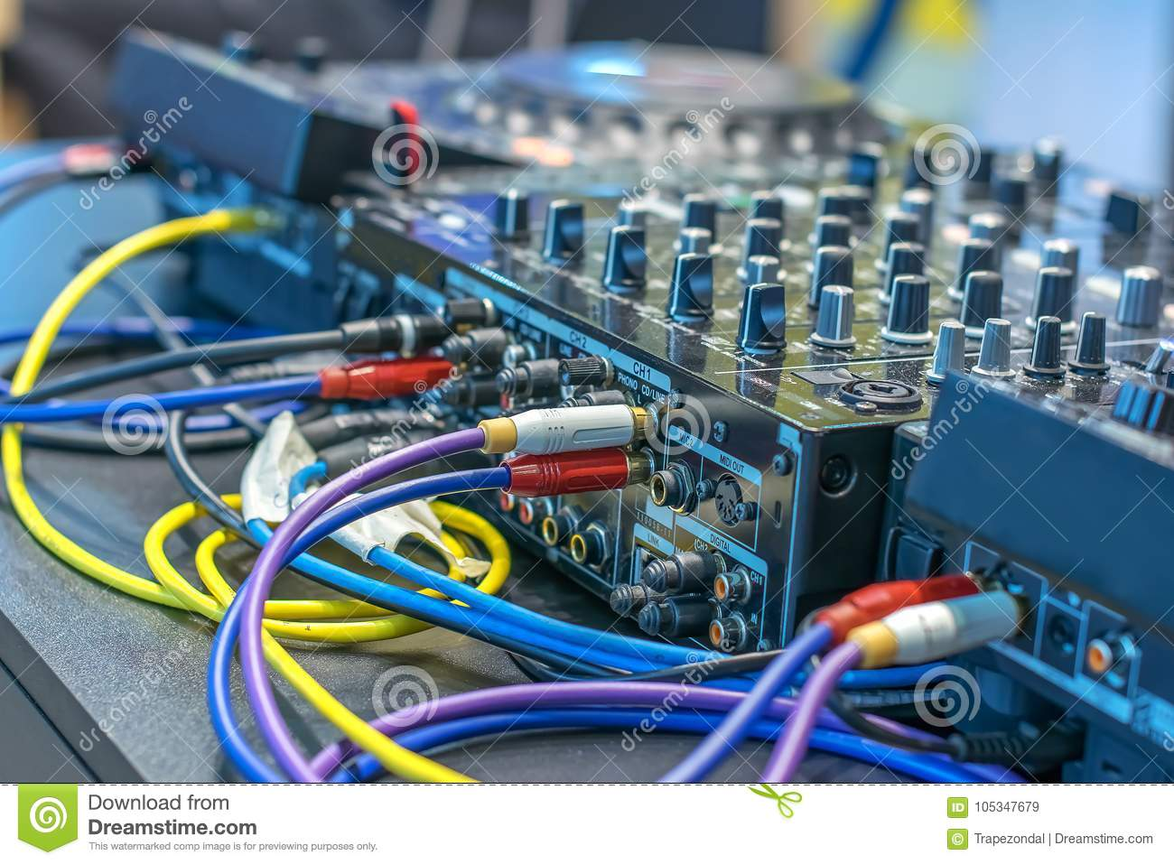 Many Wires Connected To The Amp Server, With Many Buttons Stock ...