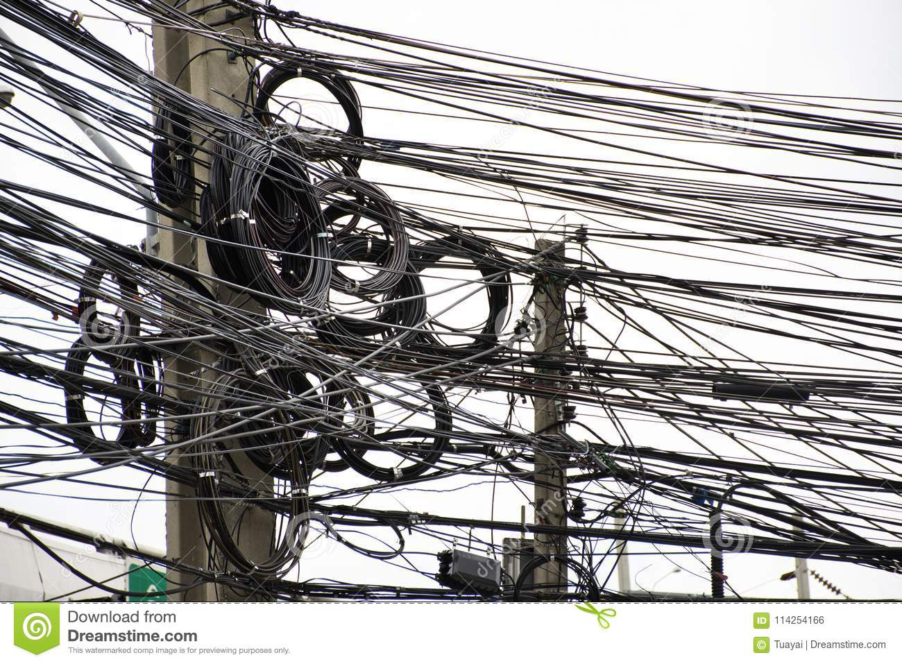 Many Wires Messy With Power Line Cables Transformers And Phone Wiring