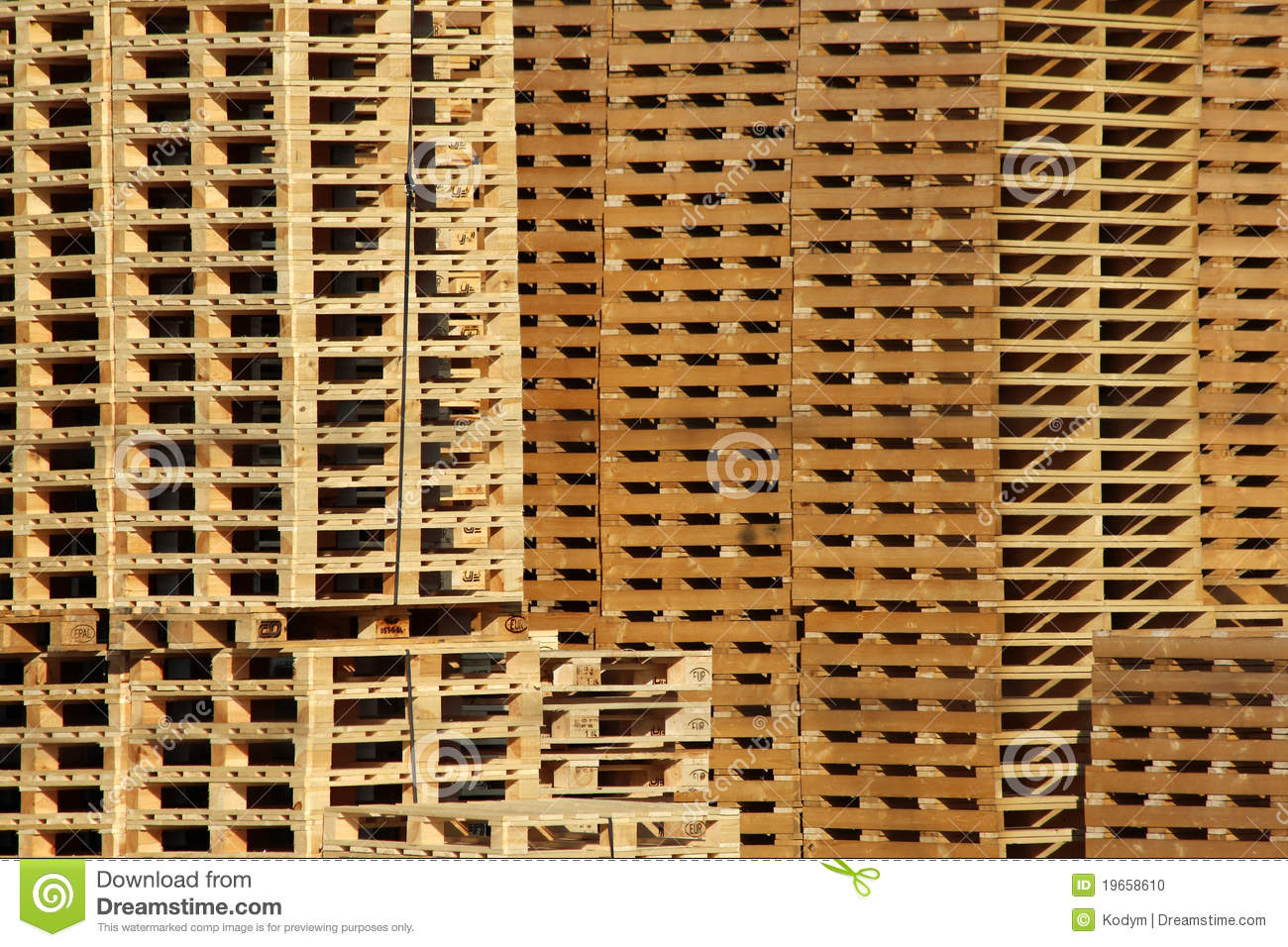 Many Wooden Pallet Store On Factory Yard Stock Photo