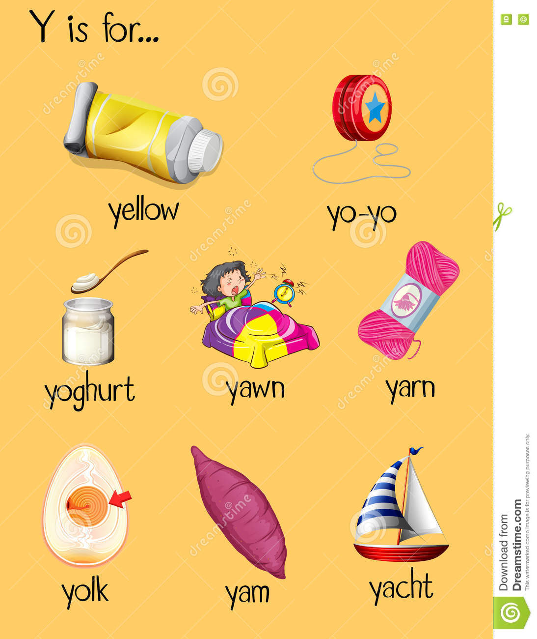 Many Words Begin With Letter Y Stock Vector   Illustration of