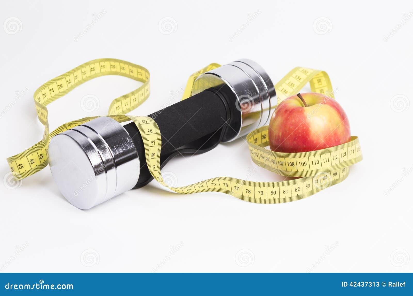 Manzana de Dumbbel y cinta de la medida