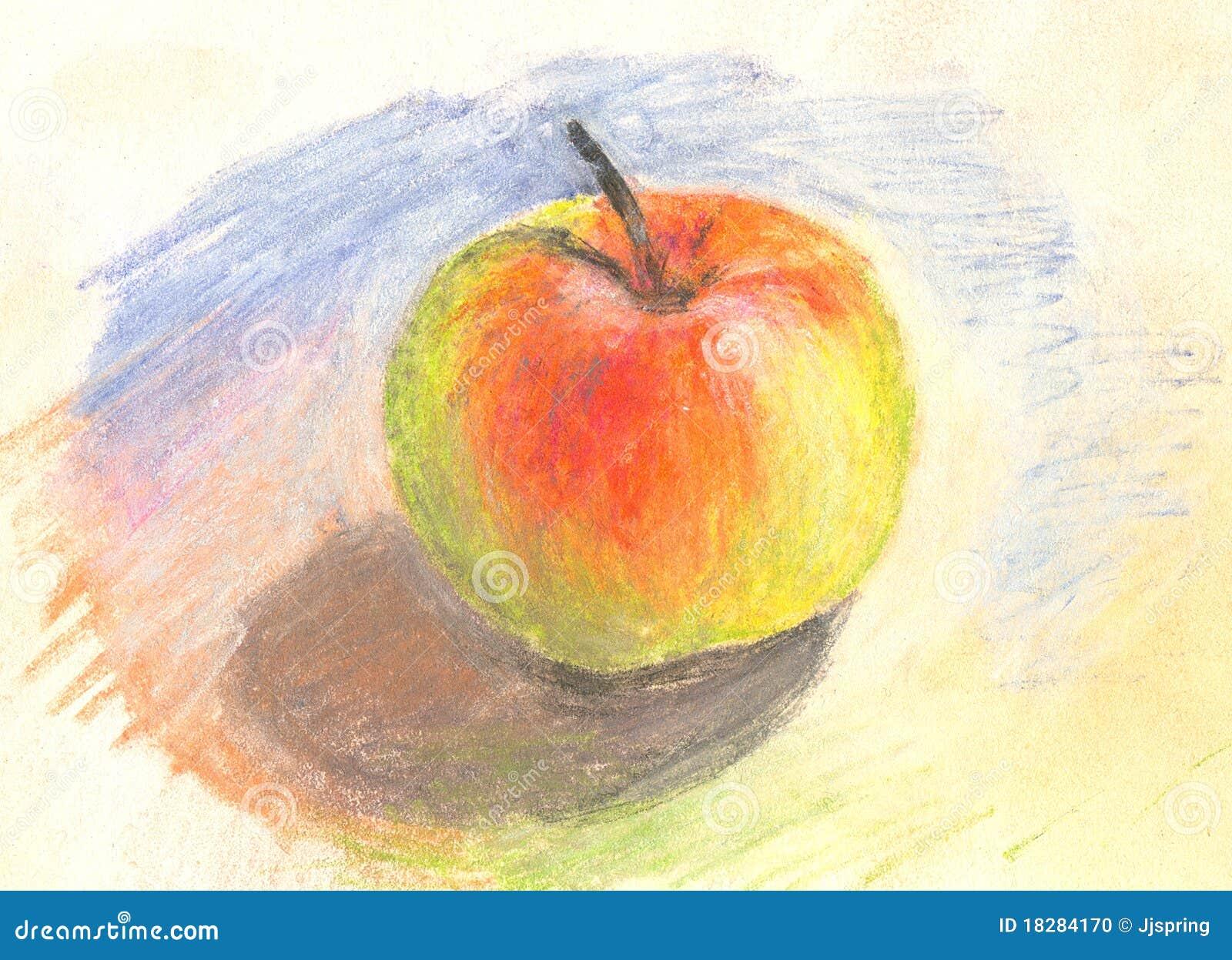 Manzana En Colores Pastel Pintada A Mano Stock de ilustración ...
