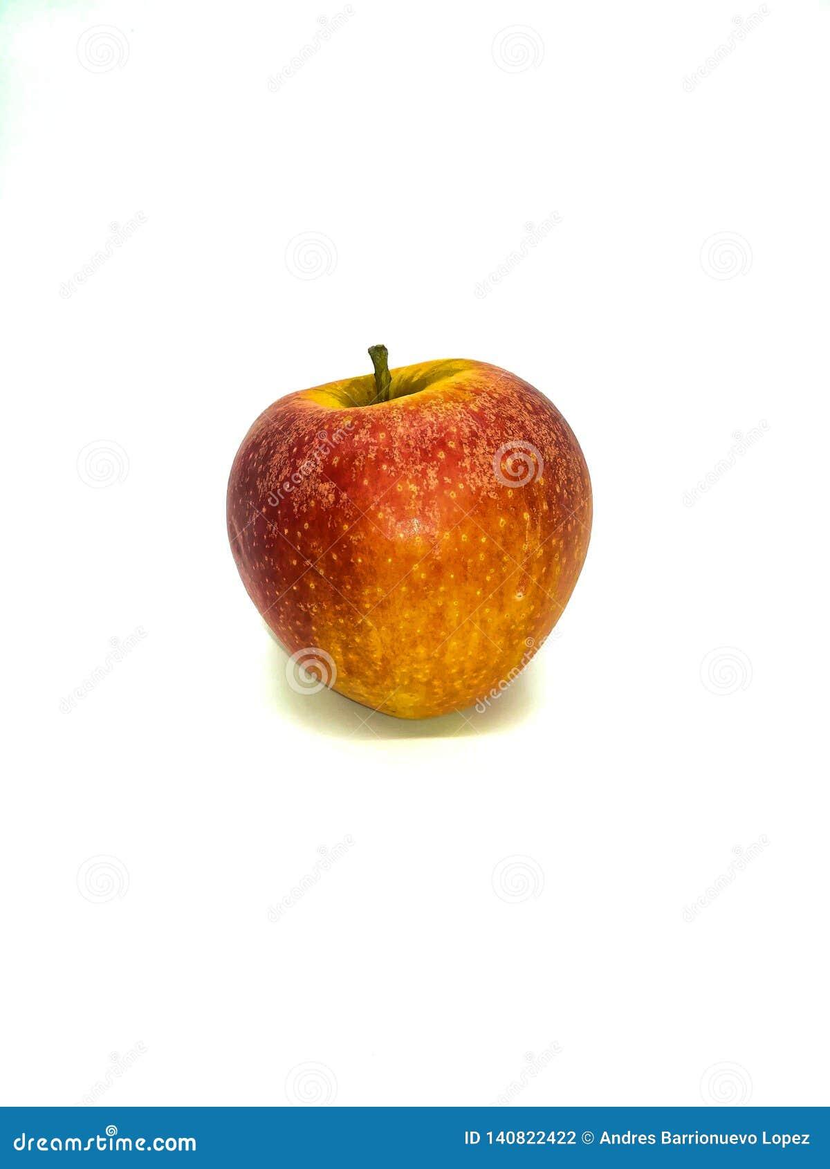 Manzana roja con las motas amarillas