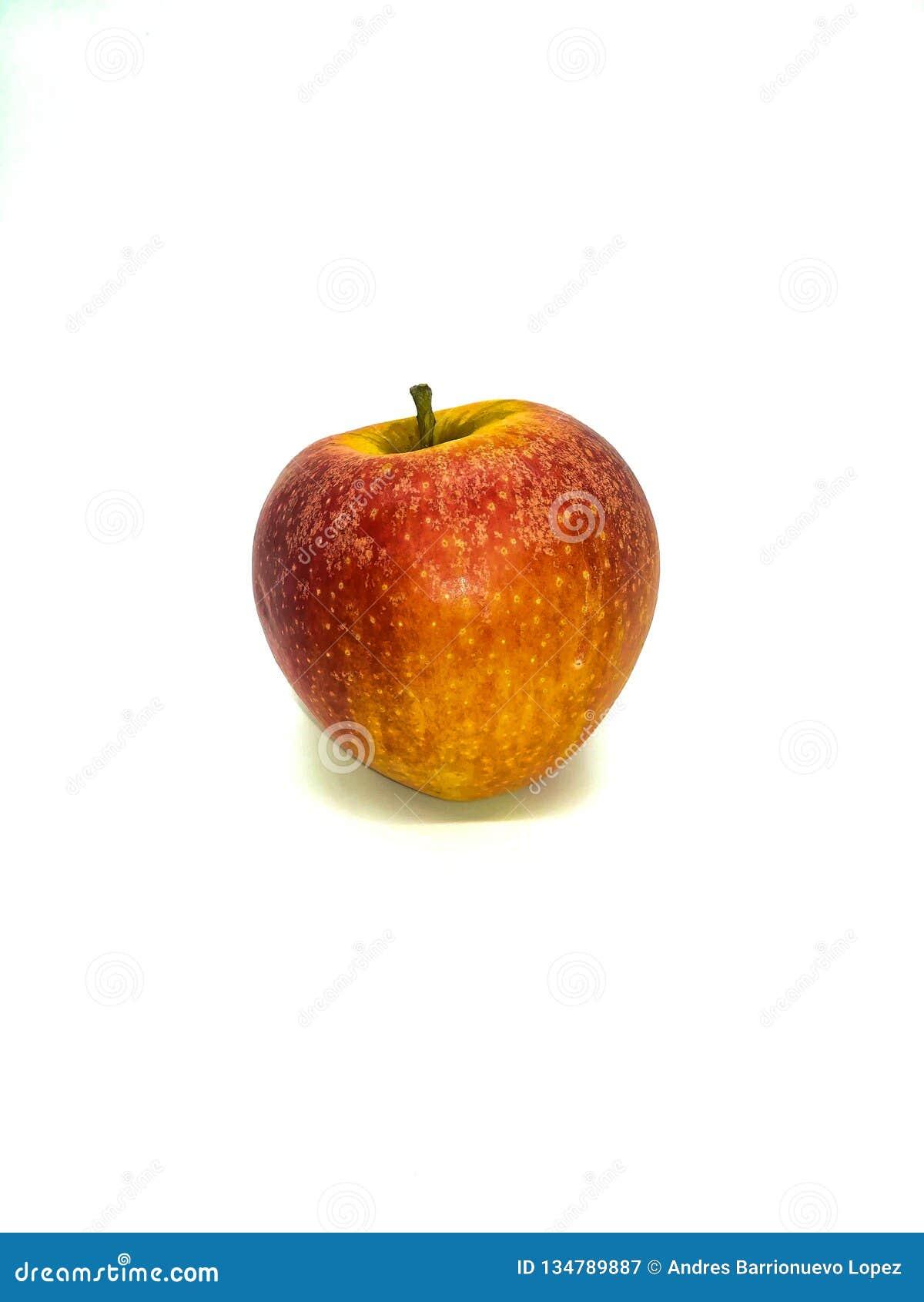 Manzana roja con tonos amarillos