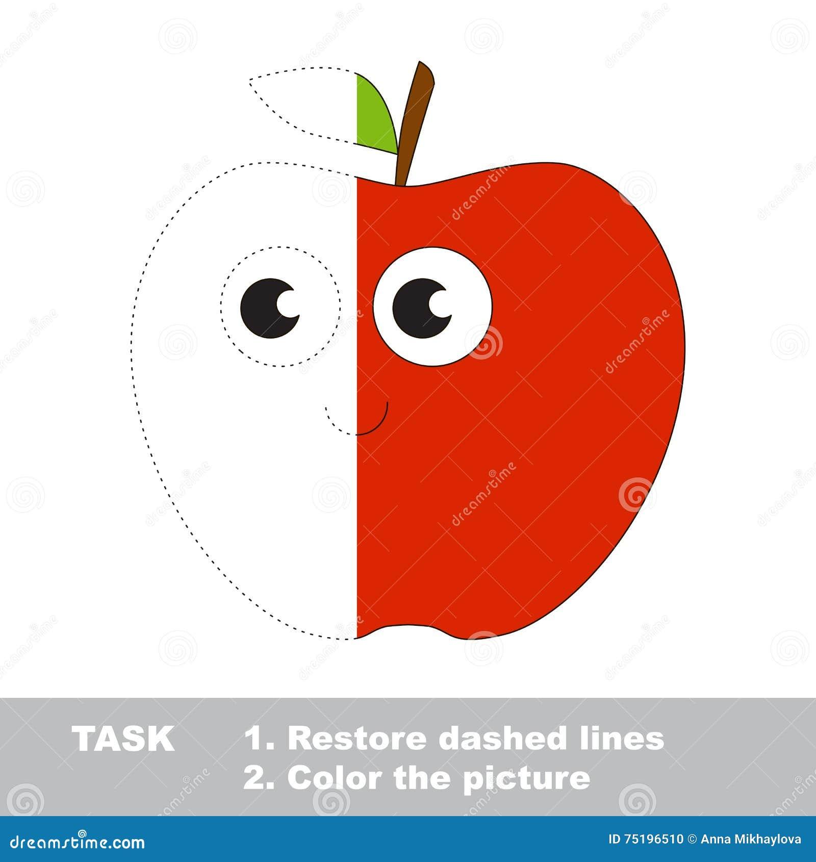 Manzana Roja Que Se Coloreará Juego Del Rastro Del Vector ...