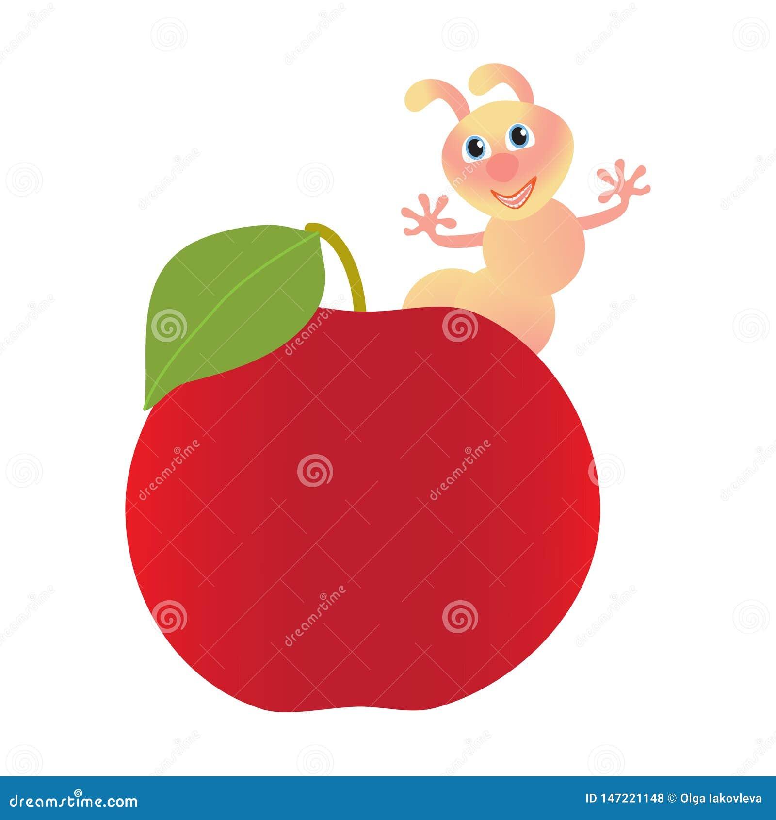Manzana roja y gusano rosado