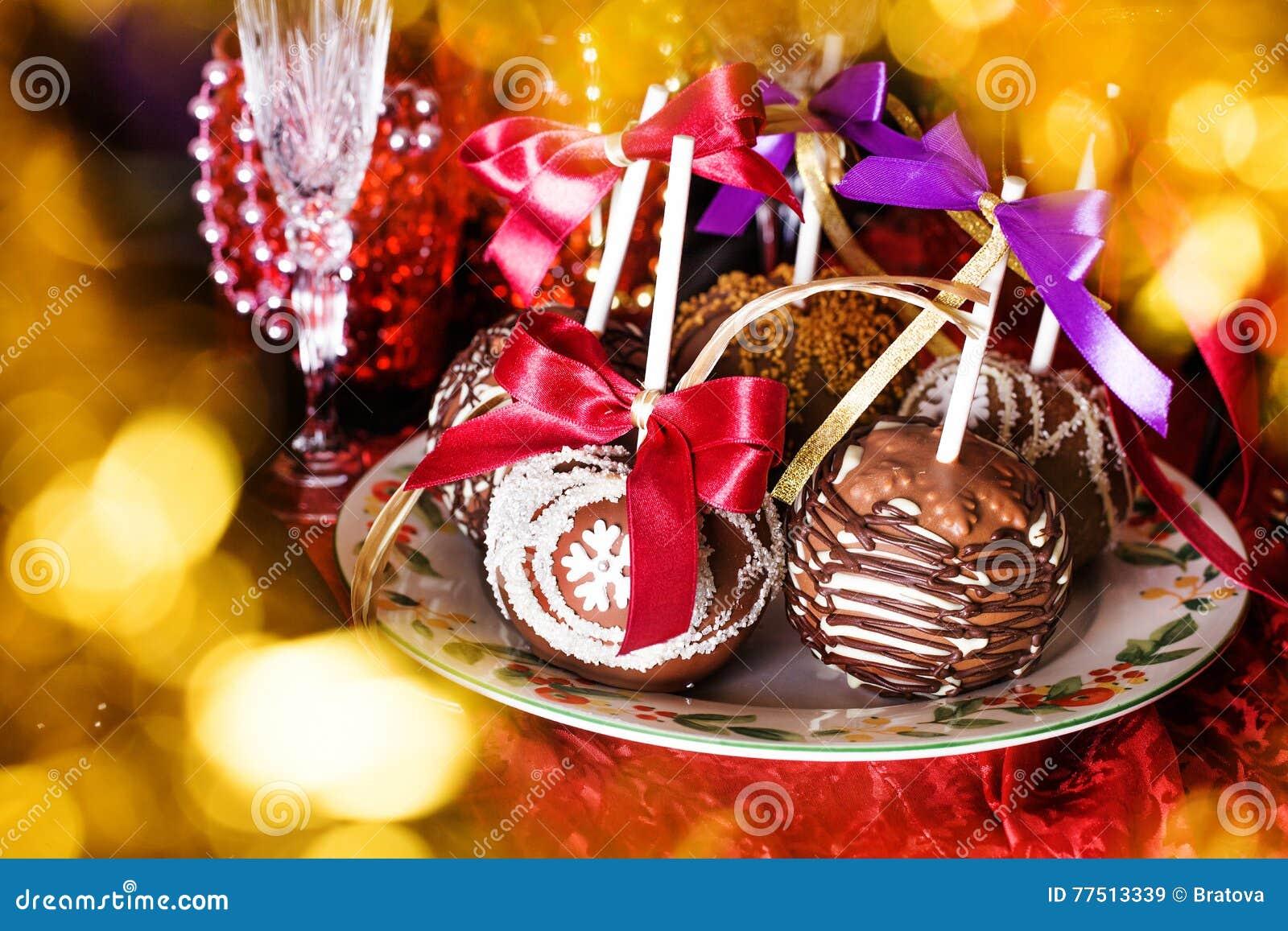 Manzanas en un palillo en el Año Nuevo