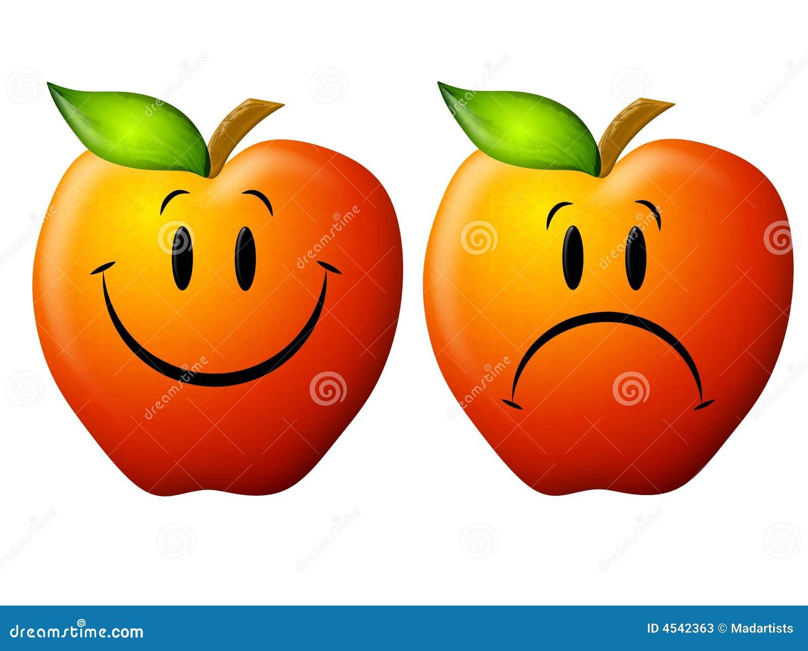 Manzanas Felices Y Tristes De La Historieta Stock De