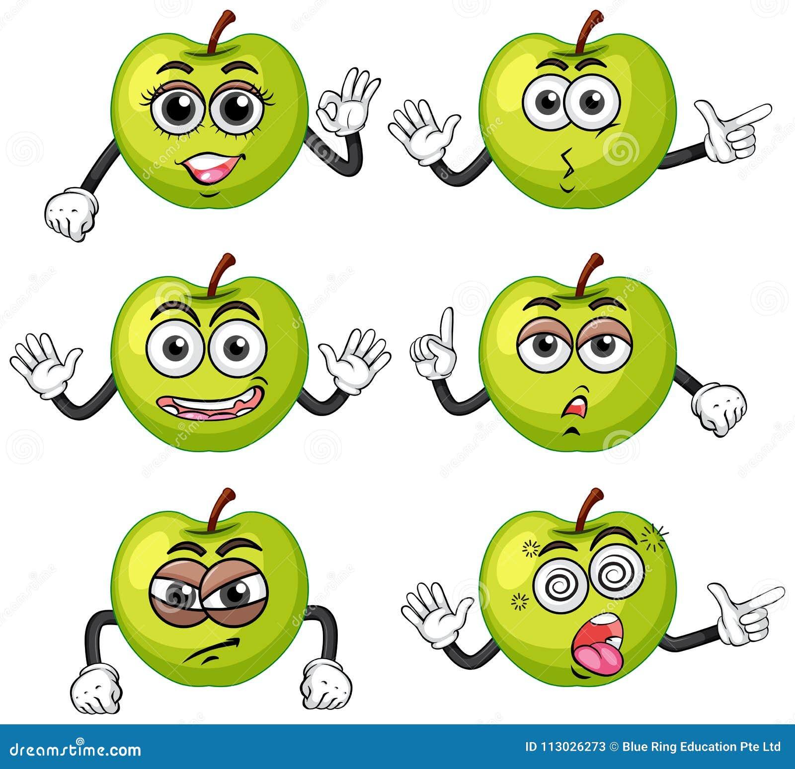 Manzanas verdes con seis diversas emociones